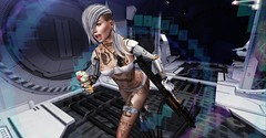 Run (Flit Ulrik // Agent Orange) Tags: secondlife second life sl android robot droid bot cyborg cyber punk scifi sci fi science fiction insilico neoshoda space future escape fantasy running gun rifle corridor station digital design video game avatar concept blonde female girl run ice cream azoury bolson coles corner erratic katat0nik neurolab inc shi binah slink swallow mesh head ears body tattoo alternative fashion
