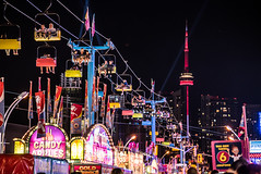 On top of Toronto (christinemcroberts) Tags: letsgototheex lights nightphotography night photography colour cityfair city ride fair carnival lakeshore waterfront downtown canadiannationalexhibition cntower ontario canada ex cne toronto
