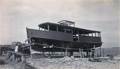 Alma G II (1947 - ) under construction at Tuncurry late 1946 (Great Lakes Manning River Shipping NSW) Tags: glmrsnsw greatlakesmiscellaneousboats forster greatlakesnsw nswgreatlakes cruiseboat ferry wallislakecruiseboat woodenboat midnorthcoast nsw australia almagii excursionlaunch launch passengerferry almag2ajbst alfjahnsen leoroyan almagregory wyliegregory carferry punt sanddredge drogher tuncurry forster3xglmrs photo6355913885 logpunt vehicularpunt vehicularferry monterey alfjahnsensyt christinej wellesleygregory