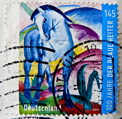 "great stamp Germany 145c (100th anniversary ""The Blue Rider"" - group of artists; painting by Franz Marc - Blue Horse I; ""Der Blauer Reiter"" - Knstlerorganisation) poste timbres Allemagne sellos Alemanha selos porto franco francobolli Germany postzegel (thx for sending stamps :) stampolina) Tags: germany deutschland allemagne alemanha postage stamps postetimbres sellos selos briefmarken porto franco francobolli timbres postzegel postes antspaudai frimerker znaczki znamk pullar markas postestimbres mail timbru postapulu pulu timbresposte alemania   tyskland markica njemaka pullari almanya    postzegels duitsland horse pferd derblauereiter thebluerider painting blue color colorful colour franzmarc artist artists blau bleu"