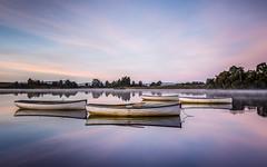 Gather (rgcxyz35) Tags: lochs trossachs water nationalpark reflections sunrise lochrusky boats mist scotland clouds