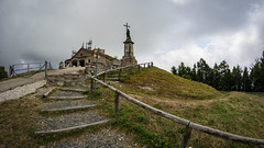 Stairway to Sanctuary (Zano91) Tags: church sanctuary mount mountain clouds cloud sky lightblue white grey top trekking walking nikon d7100 art angle wide wind religion building architecture italy penice monte fence brown outdoor samyang 8mm fisheye distorted cloudy mood moody stiars stairway