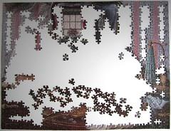 Purr-fect Reflection (Janet Kruskamp) - the beginning (Leonisha) Tags: puzzle jigsawpuzzle unfinished