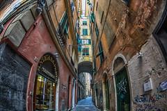 Via dei Giustiniani Genova (lncgriffin) Tags: genoa genova italy italia europe europa streetscene trattoria viadeigiustiniani oldtown medieval travel nikon d610 nikkor 16mmf28dfisheye