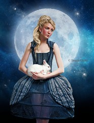 Alice and the Moon (~Brenda-Starr~) Tags: allrightsreserved september2016 girl moon rabbit