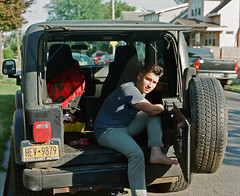 Jamie and his Jeep (Nick Spadaro) Tags: medium format photo film pentax 67 portrait jeep wrangler truck car ektar 100 vintage camera large wheel street