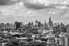 The Bangkok Skyline (virtualwayfarer) Tags: indietravel independenttravel traveling canon canon6d bangkok visitbangkok thai thailand city skyline skyscraper skyscrapers cityskyline tallbuildings urban developed capital thaicapital blackandwhite blackandwhitephotography lifestyle inspiration tourism thingstosee alexberger virtualwayfarer