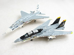 Vigilante and Tomcat (1) (Mad physicist) Tags: lego jet usnavy tomcat vigilante f14a cvw8 ra5c