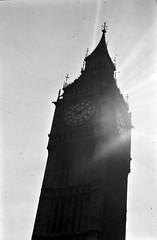 Big Ben (pam's pics-) Tags: greatbritain england bw london film europe britain bigben scan sunflare pammorris pamspics nocluewhatcameraiused 1982europetrip