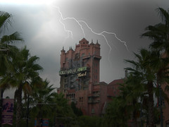 Hollywood Tower of Terror (SideKick_Studios) Tags: travel family blue vacation tower art rain architecture night neon florida magic ghost disney haunted palmtrees disneyworld hollywood mickeymouse terror wdw waltdisneyworld themepark waltdisney lightroom lakebuenavistafl allshots disneyphotochallenge iphoneography iphoneonly instagramapp