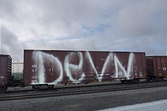 Devn (mikeion) Tags: california ca santacruz car train graffiti tag tracks bayarea extinguisher freight sorta freights devn