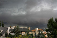 Memories of a summer storm (Una S) Tags: houses summer sky canada storm calgary clouds yard dark back afternoon low before neighborhood alberta