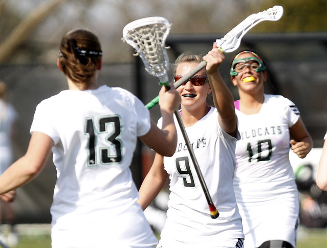Senior Liz Case (13) scored a game high eight points, scoring five goals and three assists, while sophomore Megan Keffer (9) added a career high six goals at Post on Saturday. Copyright 2013; Wilmington University. All rights reserved. File photo by Dale V Meyer.