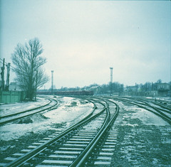 Tracks in Tallinn (©skarson) Tags: film analog zeiss europe tallinn estonia kodak railway pro analogue ikon portra canoscan ussr cccp estland 160 zeissikonnettar nettar 9000f canoncanoscan9000f kodakportrapro160
