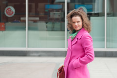 Sunday look in pink coat (Spikekilla) Tags: urban woman face eyes nikon pretty moscow lips redlips jcrew valentina peacoat womaninred curlygirl 2013 womanportrait curlywoman nikkond90 nikon70210mm4056afnikkor