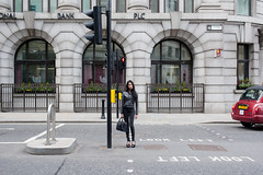 (Peter de Krom) Tags: light london girl pose high crossing traffic heels londen