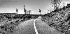 Bike Path along the Afan (Jammers1981) Tags: blackandwhite monochrome wales port mono three nikon south cranes talbot afan aberavon porttalbot d7000