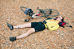 Sleepy cyclist #1 (lomokev) Tags: sleeping portrait england man male beach bike sport canon private person eos brighton cyclist unitedkingdom stones sleep human 5d exhausted londontobrighton sleeeping canoneos5d shotonhscourse londontobrighton2012 file:name=120617eos5d9072