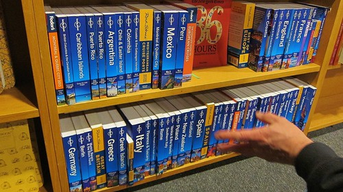 The Lonely Planet shelves of the Travel section at Literati Book Store