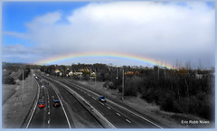 Rainbow on the A90 (eric robb niven) Tags: road bw mono cycling scotland colours dundee perth selective a90 canong12 ericrobbniven
