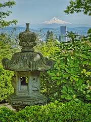 View from the Japanese Gardens toward Mt. Hood and the city of Portland, Oregon (mharrsch) Tags: plants oregon garden portland landscape temple japanese japanesegarden mthood washingtonpark mharrsch
