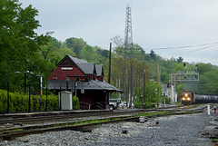 Canadian Pacific brunswick Station-Wet Spring Afternoon (Photo Squirrel) Tags: railroad train maryland brunswick locomotive canadianpacific cp ge csx freighttrain railroadstructure brunswickmd tankcar railroadstation railroadcar railroadyard railroadsignal csxt hoppercar freightcar railroadbuilding metropolitansubdivision frederickcountymd gelocomotive commuterrailstation cp8542 csxmetropolitansubdivision brunswickmarcstation brunswickmarcplatform brunswickrailroadstation northwbsignal q495