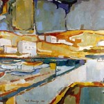 "<b>Harbor at Mykonas</b><br/> Paul D. Running, LFAC# 262, Acrylic, Painting<a href=""http://farm9.static.flickr.com/8398/8699504178_a3c910dd3c_o.jpg"" title=""High res"">∝</a>"