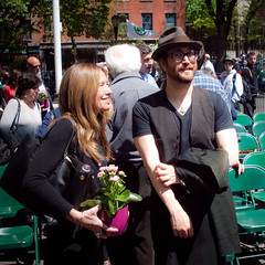 Sean Lennon with Rachael Horovitz at the Adam Yauch Park dedication (TheeErin) Tags: park rachael adam playground dedication brooklyn memorial sean hiphop lennon heights palmetto beastie mca horovitz yauch mcaday