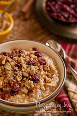 Comfort Food (Jerry Deutsch) Tags: food breakfast cinnamon walnuts oatmeal cranberries brownsugar craisins driedcranberries hearty foodphotography choppedwalnuts