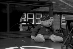 Teddy Mascot (Julian Dyer) Tags: vintage blackwhite events yorkshire 35mmfilm ilforddelta400 fujicast705 haworth ilfordddx haworth1940sweekend haworth1940s