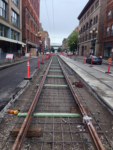 NB First Hill Streetcar track under construction between Occidental & 2nd Ave