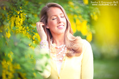 Portrait with Laburnum (Sasha L'Estrange-Bell) Tags: flowers flower girl yellow laburnum yellowhaze yellowwisteria yellowlaburnum oliviabell