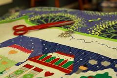 Christmas Village Sky (interchangeableparts) Tags: needlepoint christmasvillage