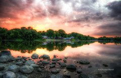 Sunset in July (Reeshema Wood Photography) Tags: sunset vibrant colors landscape waterscape auroraillinois reeshemawood fox river