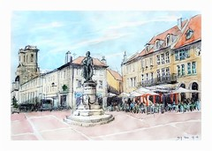 Langres - France - statue de Diderot (guymoll) Tags: diderot france langres statue croquis sketch aquarelle watercolour watercolor cathdrale