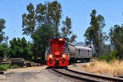 Around the corner (caltrain927) Tags: northwestern pacific nwp local freight loaded emd mp15dc mp15 california ca shortline railway railroad schellville cp pony express private passenger car pv