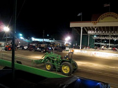 Track Maintenance. (dccradio) Tags: malone ny newyork franklincounty franklincountyfair communityevent fun entertainment event annual fair festival countyfair night lights atpa adirondacktractorpullers truckpull stage truck pullingtruck pickup johndeere deere greenandyellow tractor ag agricultural agriculture trackgrooming