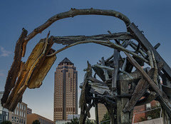 Mare of The City (Judd515) Tags: horse city desmoines cityscape skyline wood wooden statue sculpture pappajohn iowa downtown abstract urban animal architecture d7000 midwest nikon outside rurex