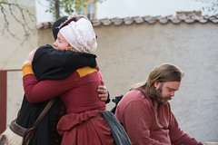 Together and alone (stenaake) Tags: hug together couple man woman medieval festival week sweden gotland visby dressedup alone beard