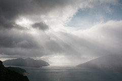 Sorfjord light show (dataichi) Tags: ocean fjord clouds cloudy ray rays light sun landscape outdoors nature travel tourism destination