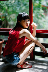 Hanna (I C E I N N) Tags: e fe sony outdoor photoshoot asian girl moody melancholy gaze people portrait squat red top blackhair bule jeans denim shorts sandles tree leaves frames sonya7ii ilce7m2 zhongyi mitakon speedmaster 50mm f095 dof creamy blurry hanna