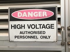 High Voltage (redwolfoz) Tags: structure screen door vent perforation metal sign highvoltage