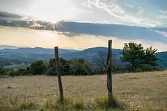 Entre deux barrires (guillaume.auverchain) Tags: nikon d3300 24mm f18 f13 soleil flare barrire herbe lever coucher montagne clairage 3 becs trois alissas paysage