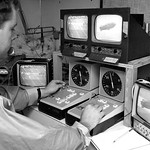 Controlling the cameras at Carter-Finley; 1970s