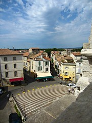 View from Arles Amphitheatre (AmyEAnderson) Tags: outdoor view neighborhood arles france bouchesdurhone provence buildings historic brasserie steps stairs sky clouds town