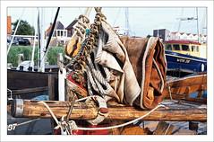 Sailing vessel - detail (macfred64) Tags: film analog 35mm 135 transparency diapositive slidefilm fujiprovia100f nikonf4 nikkoraf3570mmf28 vintagesailingvessel sail sailboat rope