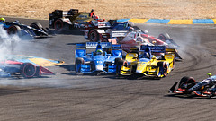 First Lap Chaos! (marq4porsche) Tags: tony kanaan marco andretti indycar 2016 gopro grand prix sonoma racing crash clash chaos open wheel smoke light heat battle eos canon 6d 100400l marquis houghton