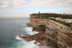 The Gap (lukedrich_photography) Tags: australia oz commonwealth        newsouthwales nsw canon t6i canont6i history culture sydney       metro city watsons bay harbour suburb southhead peninsula seaside thegap gap bluff tasmansea woollahra cliff geology sandstone sea ocean pacific wave neutral density overlook viewpoint skyline longexposure