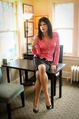 Sitting Pretty (Hannah McKnight) Tags: tgirl transgender transgirl model crossdress crossdresser skirt stilettos