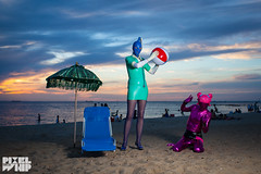 Cassandra & Daniella at Brighton Beach, Melbourne, 2013 (pixelwhip) Tags: sunset copyright beach strange fetish canon photo costume brighton shoot photographer play cosplay dusk mark australia melbourne latex cassandra cos alternative zentai 2013 burban pixelwhip